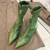 Boots Botas femininas de couro fino com zíper frontal, salto alto da moda para festa, outono VJO5