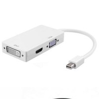 Entrega Mini DP DisplayPort para Adaptador VGA DVI 3 em 1 adaptadores de cabos com embalagem de varejo