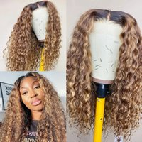Ombre Blonde 360Lace Front Wig Deep Wave Human Hair Wigss T1B 27 Blondes Highlight Curly 13x4 Lace Frontal Wigs for Women Remy Hairs