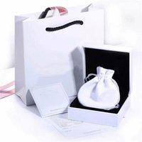 새로운 브랜드 흰색 팔찌 포장 맞춤 원래 유럽의 매력 팔찌 반지 괜 찮 아 요 보석 선물 상자