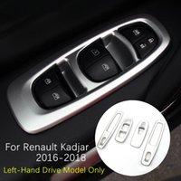 ABS Chrome Inner Door Window Lift Regulator Switch Button Cover Trim For Renault Kadjar 2016 2017 2018 Carbon Fiber Matte Silver