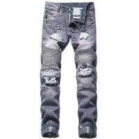Jewuto 2020 мужчин джинсы бренда высококачественные отверстия прямые мото-байкер джинсы мужчины джинсовые брюки для черного синего цвета