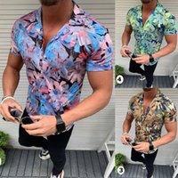 Men's Casual Shirts Summer Mens Shirt Cardigan Top Short Sleeve Hawaiian Stand Collar Strip Print Thin Men Dress Male Clothing Tops