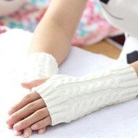 Sports Gloves Women Stylish Hand Warmer Winter Arm Crochet Knitting Faux Wool Mitten Warm Fingerless Glove Gants Femme