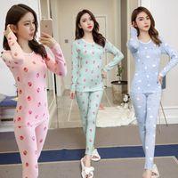 2019 Autumn Winter Long Sleeve Thermal Underwear Pajama Sets for Women Thick Warm Sleepwear Suit Long Johns Body Shaper Bodysuit X0526