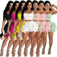 Free Ship 2021 Women Fashion Soild Ruffle Two Piece Pants Casual Sleeveless Crop Top and Bottoms Set Lady Outfits