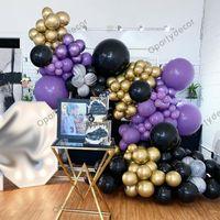 150 قطع chorme الذهب بالونات جارلاند القوس كيت الأسود الأرجواني globos الكبار عيد حفل زفاف زينة استحمام الطفل