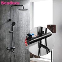 Bathroom Shower Sets Matte Black Thermostatic System HUNNISE Quality Brass Rainfall Waterfall Faucet Bath Set
