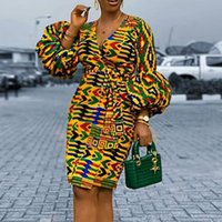 캐주얼 드레스 퍼프 슬리브 봄 가을 여성 V 목 인쇄 드레스 2021 우아한 여성 플러스 크기 아프리카 사무실 레이디 빈티지 레트로 미디