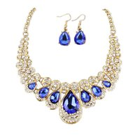 Earrings & Necklace Women Fashion Crystal Jewelry Statement Pendant Charm Chain Choker Delicate Aug 22