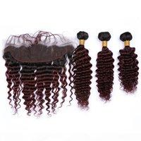 Девственные перуанские человеческие волосы глубокая волна бордовой омбре 3шт пакеты с фронтальным # 1B 99J вино красный ombre 13x4 кружева лобное закрытие с ткачами