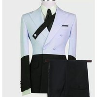 Men's Suits & Blazers Custom Made Sky Blue Black Suit Men Set Slim Fit Groomsmen Groom Marriage Wedding Dress Tuxedo Prom Blazer With Pants