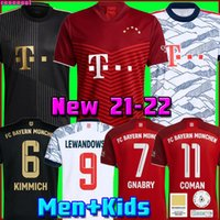 Bayern Soccer Jersey 21 22 Lewandowski Sane Goretzka ميونيخ كومان مولر ديفيز كرة القدم قميص الرجال الاطفال كيت 2021 2022 HumeRrace الرابع