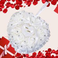 Bomboniere Bomboniere Anello Cuscino con Trasprent Box Design cuore Design Strass Decorazione anello di nozze Cuscino Decorazione Decorazione Proposta Matrimonio forniture