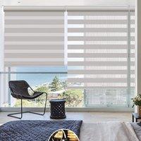 カーテンのカーテン、二重ブラインド、フィルター窓の治療、メッシュと不透明な生地が付いているプロのカスタムコードレスシマウラローラーシャッター
