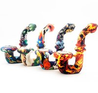 Colorful Printed Silicone Pipe Tobacco Dry Herb Burner Pipes Smoking Hand Spoon Pipe Portable pipes with Glass Bowl Smoking Accessories