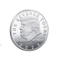 2024 ترامب تذكارية عملة عملة أمريكا الأمريكية الانتخابات الحرف تحصيل الذهب مطلي زدلة حديدية مزدوجة الملونة CWA6595