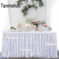 Party Decoration Glitter Sequin Table Skirts Shiny Bling Wedding Event Banquet Celebrate TableCloth Covers Skirting Christmas