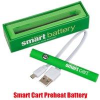 Smartcart-Batterie-Kit Green Smart Carts 380mAh Vorwärme VV Variable Spannung unten USB-Ladegerät Vape-Stift für 510 dicke Ölpatrone