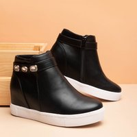 Fashion version ankle boots Europe and The United States wind wedge heel inside women's shoes heighten