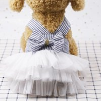 Dog Apparel Striped Princess Dresses XXL Female Sling Bow Mesh Cake Skirt Summer Wedding Puppy Clothes Supplies For Small Pet Products