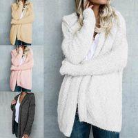 Mujeres de peluche de peluche chaqueta de abrigo invernal mullido suelto cárdigan Outwear más tamaño 8-22