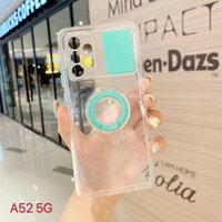 Slide Camera Cover Lens Protection Phone Cases 10 color For iPhone 12 11 Pro XS Max TPU Finger Ring Back Case A32 A52 A71 A51 A20S
