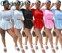 Women Tracksuits Two Pieces Set Designer Slim Sexy Sports Leisure One Shoulder Five Sleeve Solid Color Skirt Pants Summer For Ladies