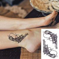 Temporary Tattoos Waterproof Tattoo Sticker Cross Chain Machine Gun Tatto Flash Tatoo Fake Hand Arm Body Art For Men Women
