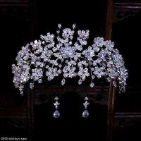 Saç Klipler Barrettes Taç Hadiyana Tasarım Yaprakları Vintage Kadınlar Düğün Gelin Aksesuarları Parti Tiaras ve Kübik Zirkon BC5170