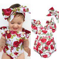 Kinderen romper zomer jumpsuit bloem boog hoofdband pasgeboren kleding set kinderen harem rompertjes baby bodysuit eendelige pak H238v6m