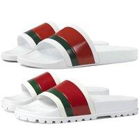 Sıcak Moda Logo Kauçuk Kırmızı Yeşil Erkek Terler Yaz Siyah Beyaz Şerit Pursuit Havuz Kadın Sandalet Ayakkabı Baskı Çiçek Web Erkek Çevirme