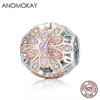 Anomokay 925 Sterling Silber Leuchtende CZ Romantische blühende Blume Buds Perlen Fit Armband Halsketten DIY Schmuck Zubehör Geschenk