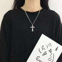 Luxury Design Pendant Necklace Fashion Jewelry S925 Sterling Silver Glossy Double-layer Diamond Inlaid Cross Men's and Women's Versatile Set Chain T-shirt Sweater