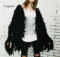 FENGGUILAI Теплый вязание мозг белый кардиган женский свитер мягкий черный женский куртка пальто осень зима волосатая из искусственной меховой шерсти G1015