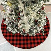شجرة عيد الميلاد تنورة أحمر أسود منقوشة شجرة أسفل تزيين شجرة عيد الميلاد اللباس أشجار عيد الميلاد زخرفة عطلة حزب اللوازم RRA4328