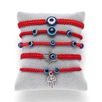 푸른 악마 눈 팔찌 빨간색 밧줄 체인 팔찌 직조 버클 독창성 보석 장식품 팜 두 라운드 진주 블루스 눈 30BB Y2