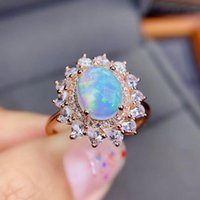 Cluster Rings Super Good Quality 100% Real And Natural Opal Ring 925 Sterling Silver