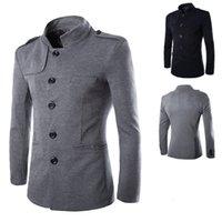 Recém-chegadas homens inverno casual stand collar chinês túnica terno jaquetas blazer preto único jaqueta magro e casaco m-2xl
