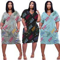 Von Dutch dresses Summer Clothes Women Midi Dress short sleeve SKirts casual letters bodycon skirtss plus size S-3XL V neck loose skirt DHL 5351