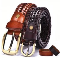Belts Women Braided Belt For Men's Woven Luxury Genuine Leather Cow Straps Hand Knitted Designer Men Jeans Girdle Male