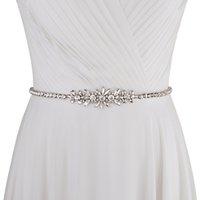 Cinturón de diamantes de imitación de lujo de la cinta nupcial de diamante de plata de las mujeres para el vestido de boda del vestido de novia para los vestidos de dama de honor nupcial SCS166