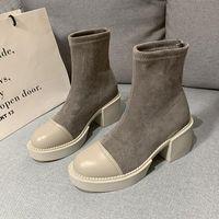 Boots Black Sock Women 2021 Punk Gothic Shoes Ankle Platform Autumn Winter Warm Fur White