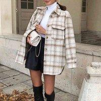 ZXQJ Vintage Kadınlar Yumuşak Tüvit Gömlek İlkbahar-Sonbahar Moda Bayanlar Zarif Gevşek Bluzlar Streetwear Kızlar Büyük Boy Dış Giyim 210402