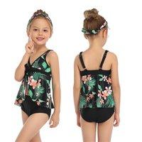 2-14 Yıl İki Parçalı Çocuk Kız Tankini Mayo Çocuk Mayo Alt Yüzme Takım Elbise Ile Set Tops Çocuk Banyo 210728