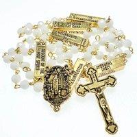 Colares de pingente 6mm rosário de vidro faceta branco, rosário religioso com cênico fátima, Cingapura Católica Colar de peças de metal de ouro
