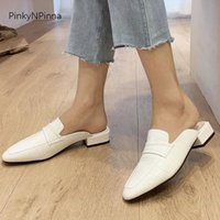 Slippers Summer Women Patent Leather Mules Square Low Heels Office Chic Aligator Pattern Casual Super Plus Size Soft Shoes