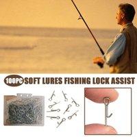 100 unids ganchos de pesca de acero inoxidable gancho de pesca jig conectando pines agujas fijas de bloqueo de accesorios de bloqueo de herramientas L719
