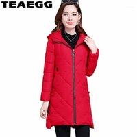 Kadın Aşağı Parkas Teaegg Kırmızı Sıcak Kış Ceketler Kadın Mujer Pamuk Kadın Ceket Artı Boyutu Ince Ceket Blouson Femme Hiver AL14711