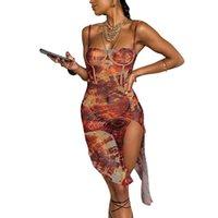 Club Night Vestido Femenino Split Sexy Split Set-A TRIGHT Hotties Chic Graphic Mesh Streetwear Leisure Beach Irregular Mini Vestido